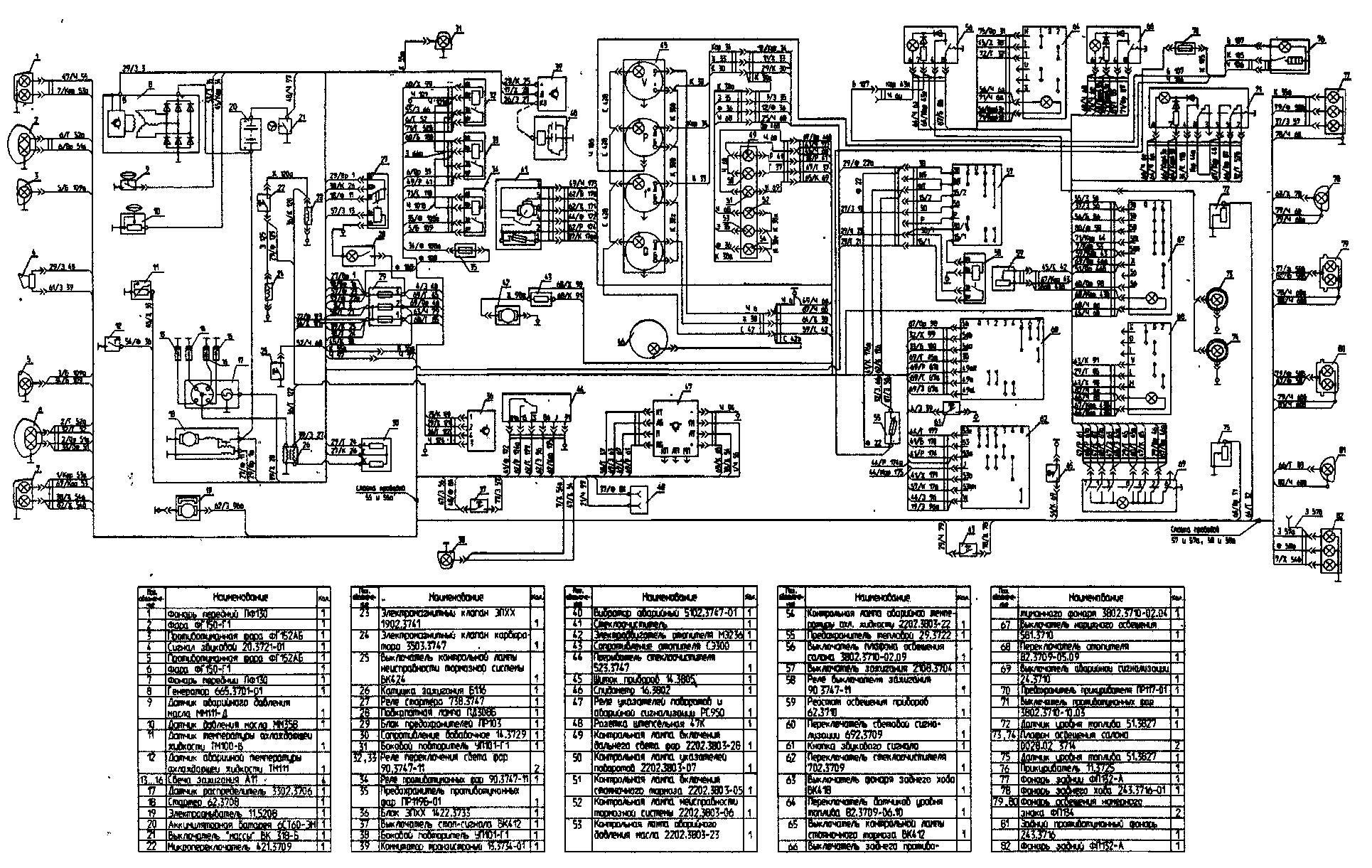 Схема электрооборудования автомобиля УАЗ-3153