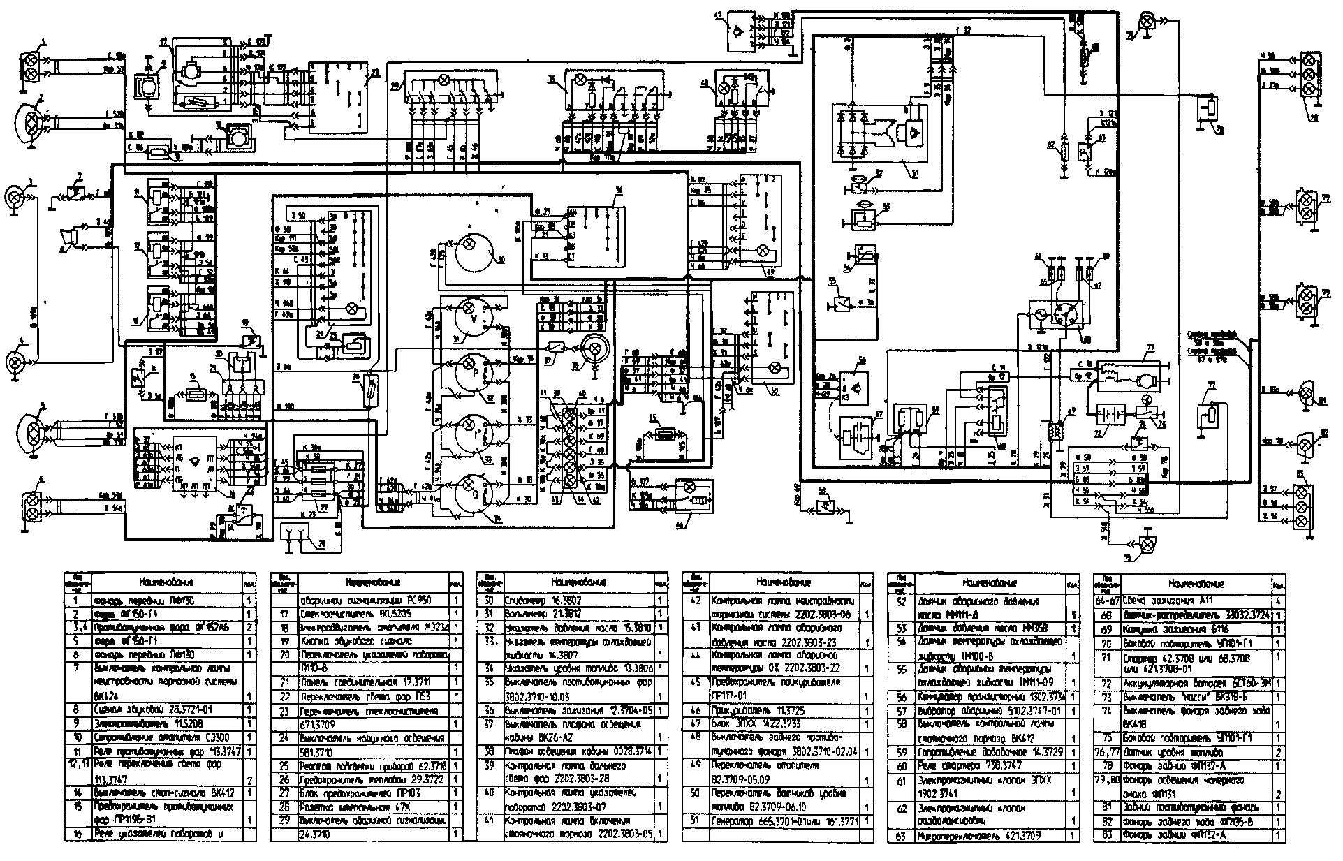 Схема электрооборудования автомобиля УАЗ-33036 без многофункциональных подрулевых переключателей