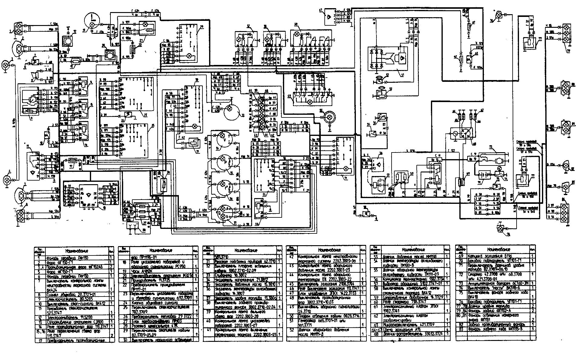 Схема электрооборудования автомобиля УАЗ-39095 с многофункциональными подрулевыми переключателями