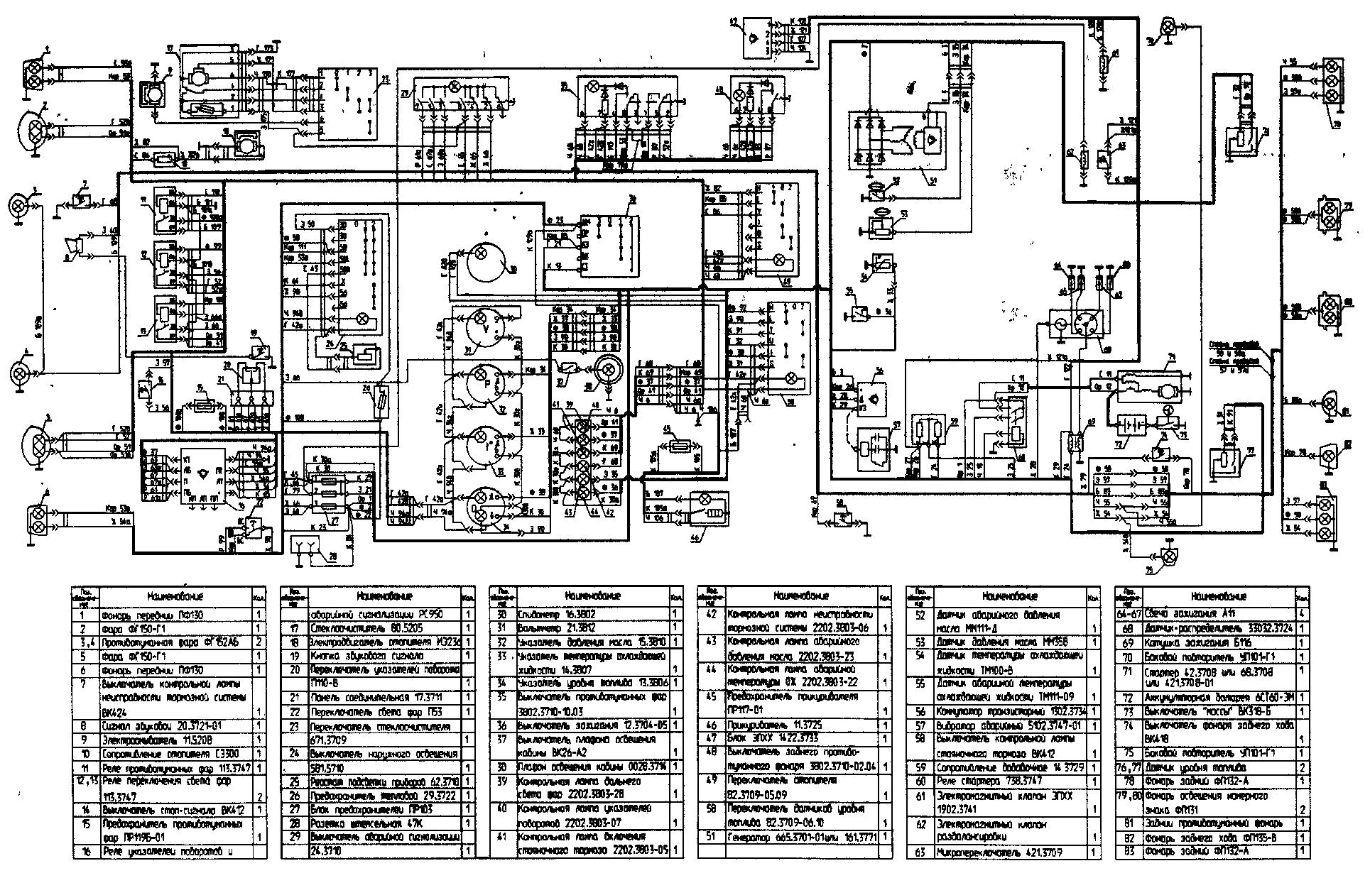 Схема электрооборудования автомобиля УАЗ-39095 без многофункциональных подрулевых переключателей