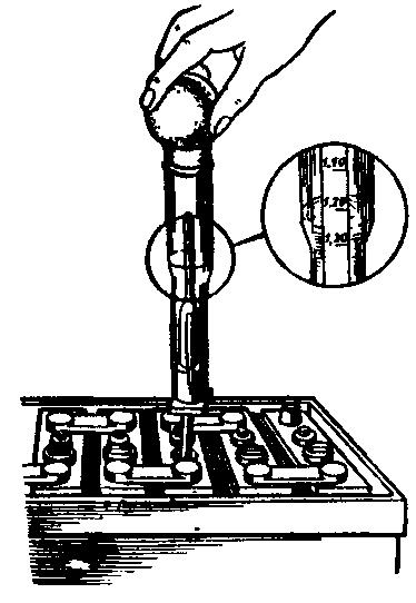 Измерение плотности электролита ареометром