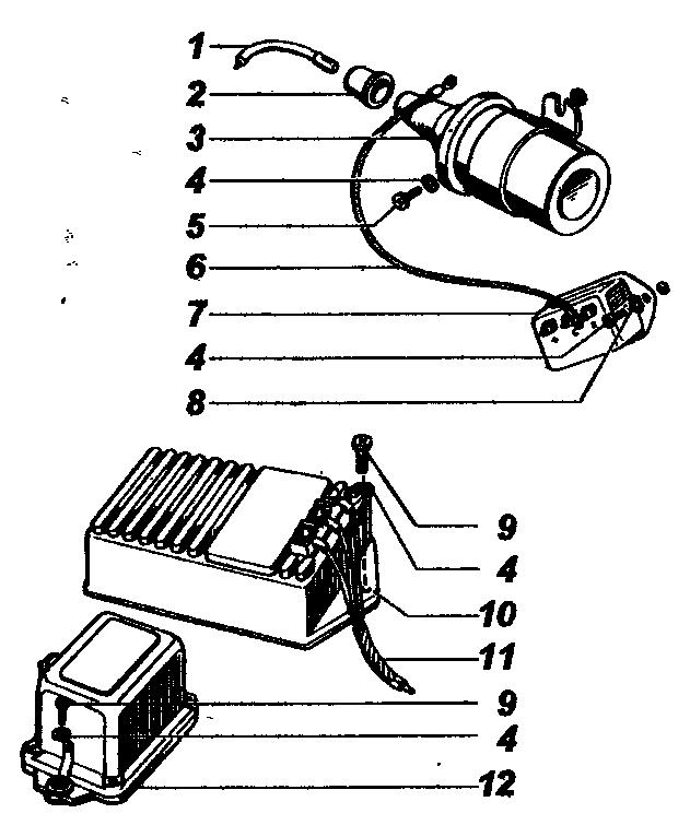 Катушка зажигания, добавочное сопротивление, транзисторный коммутатор, аварийный вибратор