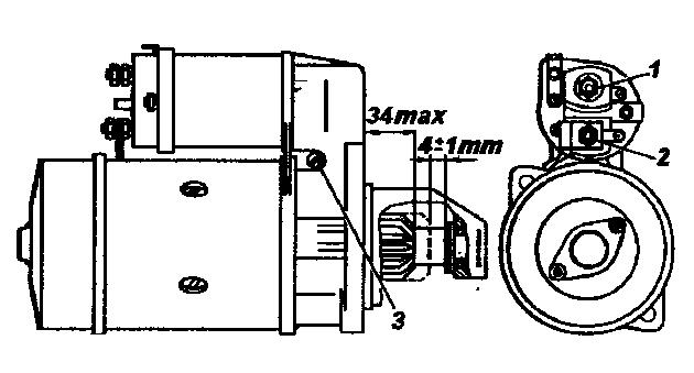 Положение шестерни привода стартера