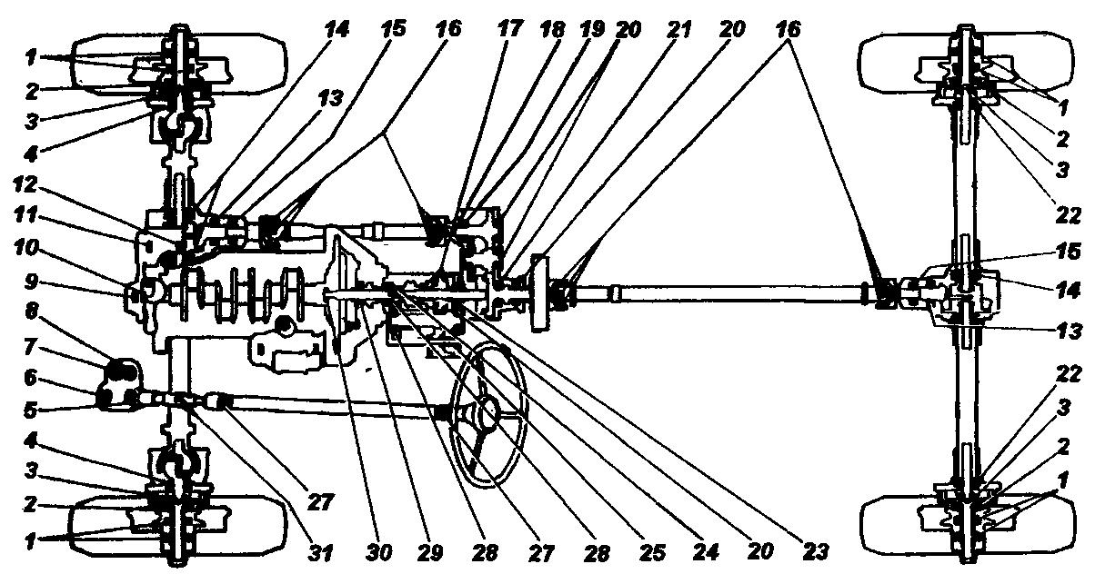 Схема расположения подшипников на автомобилях семейства УАЗ-31512 с мостами с бортовой передачей